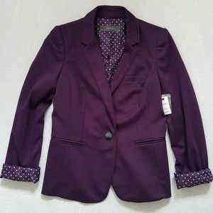 Nwt The Limited blazer purple polka dot lining S